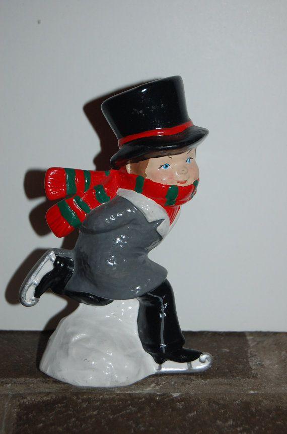 Vintage Ceramic Ice Skater Christmas Skater by JunkyardElves