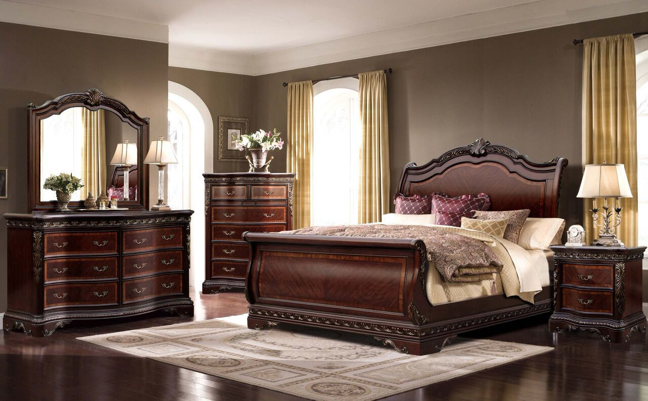 Mcferran bella rich walnut pcs queen sleigh bedroom set bq