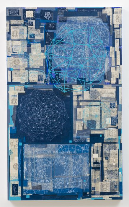 Stephen Talasnik - Endless Invention, 2009  acrylic, collage, on panel  60 x 36 in. (dyptych)