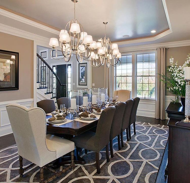 Double Chandeliers Luxury Dining Room Elegant Dining Room