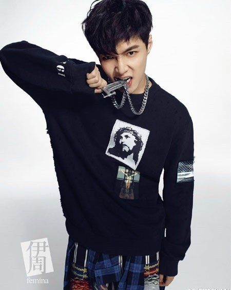 EXO's Lay is a stylish tough guy for Chinese magazine 'Femina' | allkpop.com