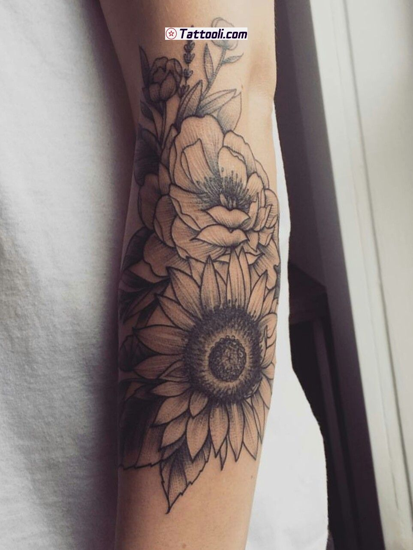 Sunflower tattoo sleeve, Tattoos, Body