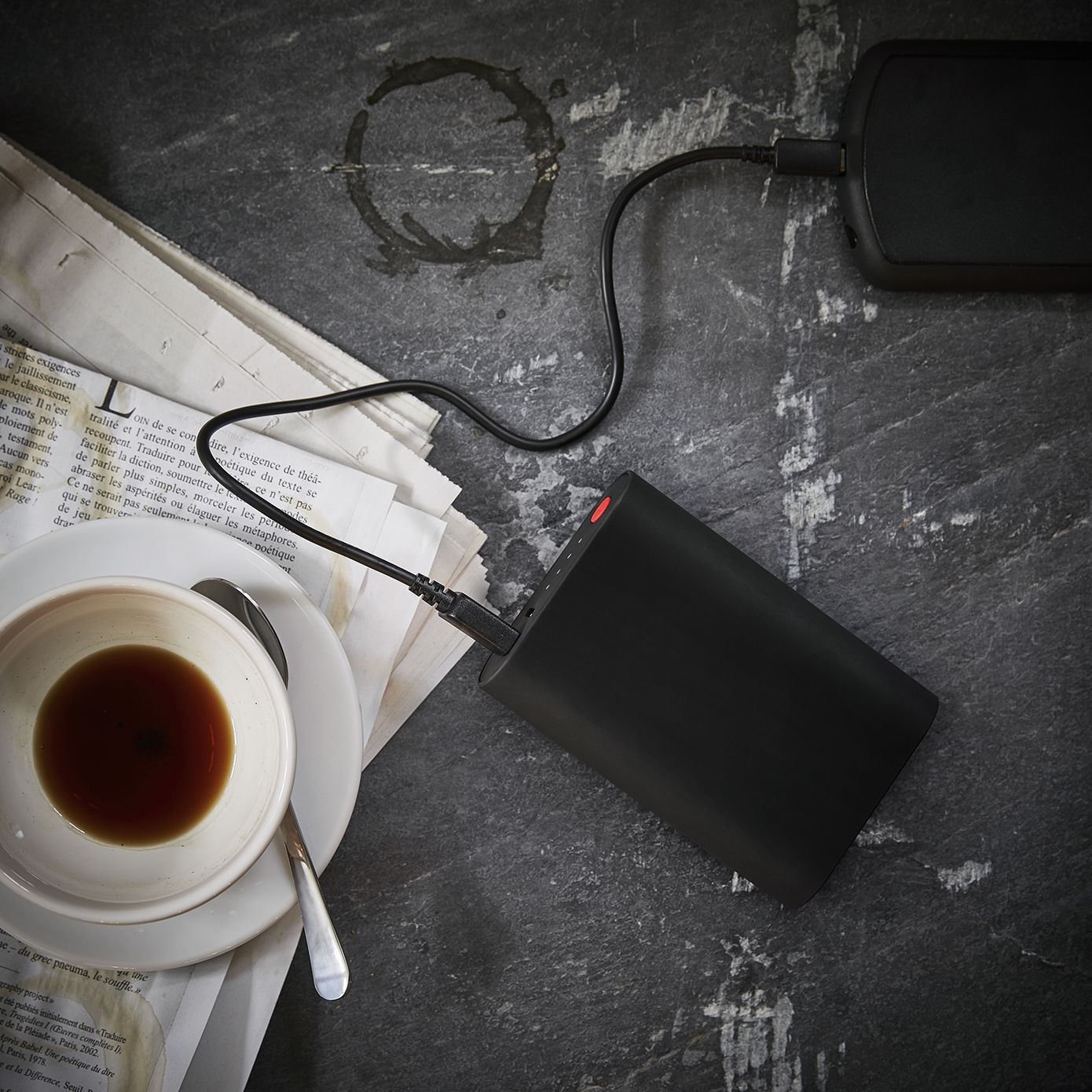 A flat battery? No worries. SOLBANA charger with a built-in battery lets you charge your mobile devices on the go. #IKEA #SOLBANA #charger with a built-in battery