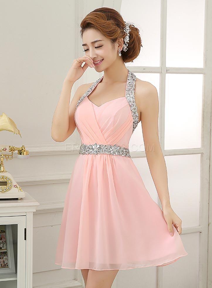 Brillante Halter rebordear vestido corto | Damas, Vestiditos y Dulces 16