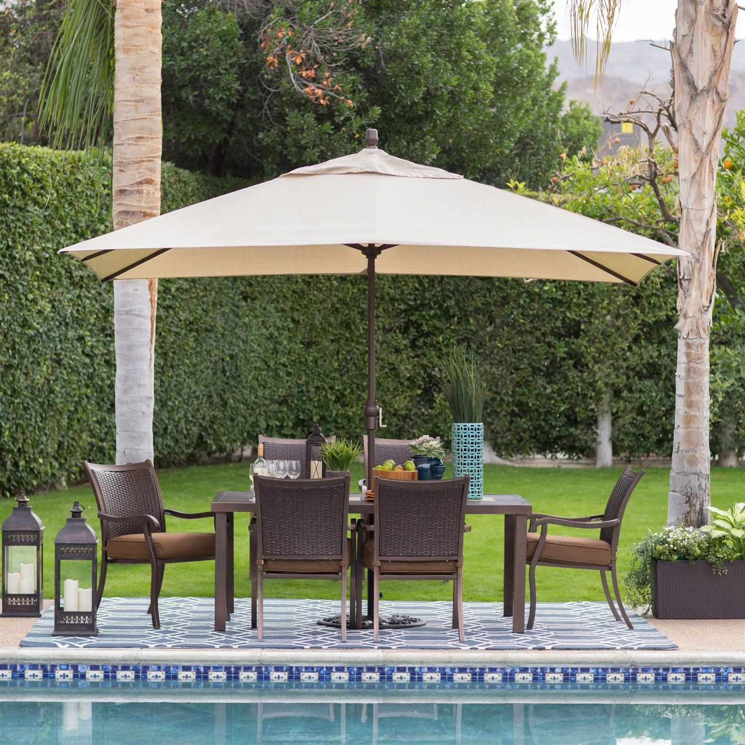 8 Ft x 11 Ft Patio Umbrella with Bronze Finish Pole and Beige Shade