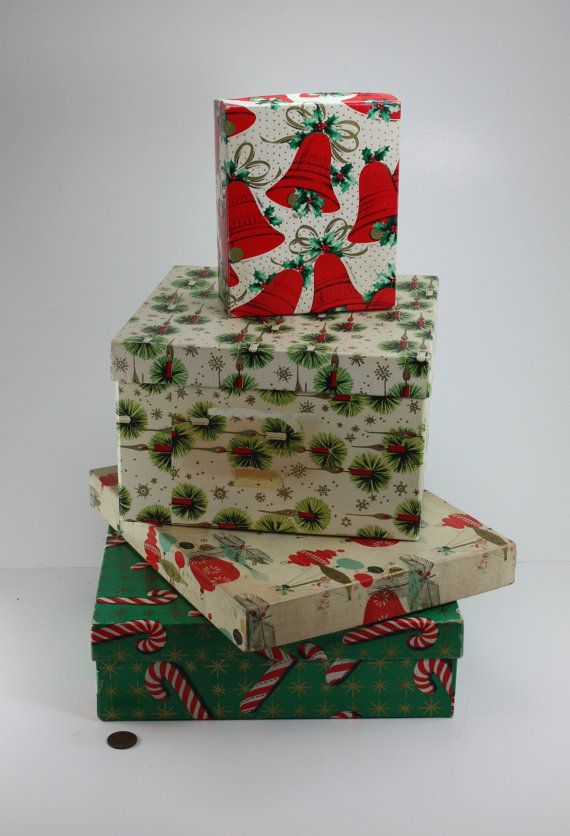 Vintage Christmas Gift Boxes Christmas Holiday Decor Assortment Collection Set Of 4 These V Creative Christmas Gifts Vintage Christmas Gifts Vintage Christmas