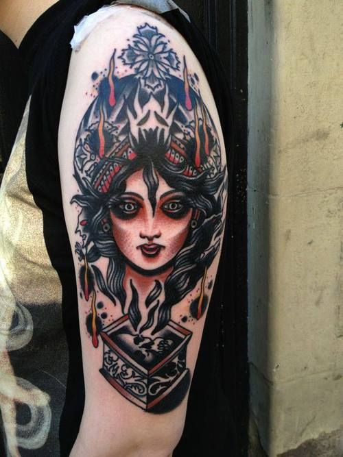 Traditional girl head tattoo wolf for Girl head tattoo