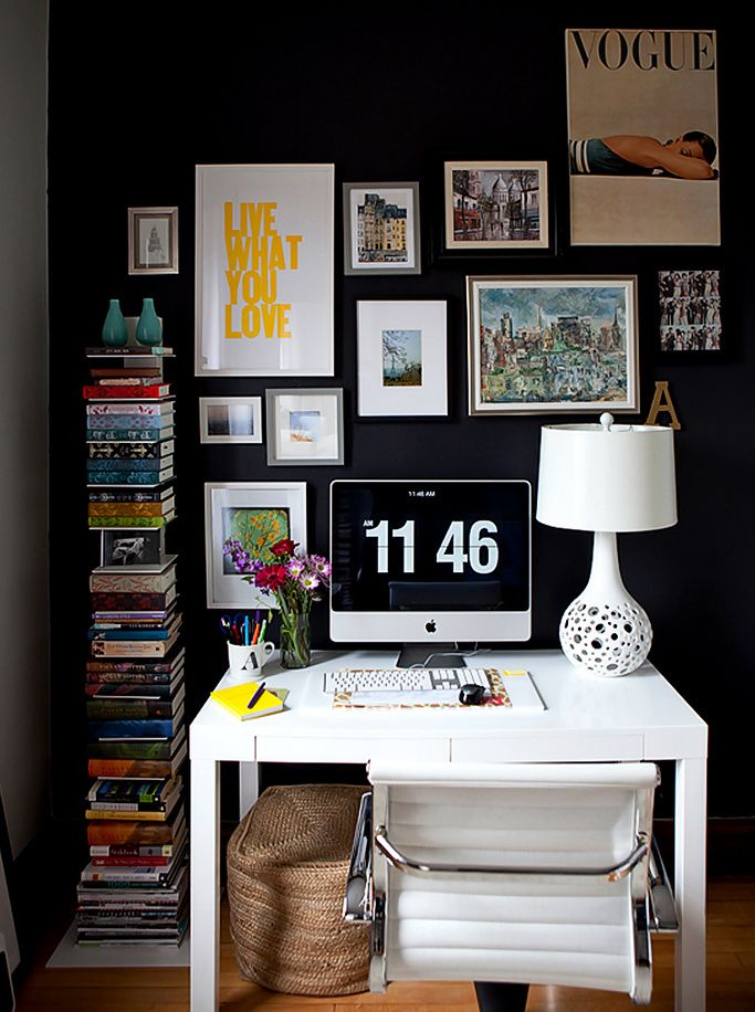 home office dark blue gallery wall. Alaina Kaczmarski - Chic Office Space With Black Accent Wall, Overstock Student Desk, Leather Chair, HomeGoods White Lamp, West Elm Spine Home Dark Blue Gallery Wall S
