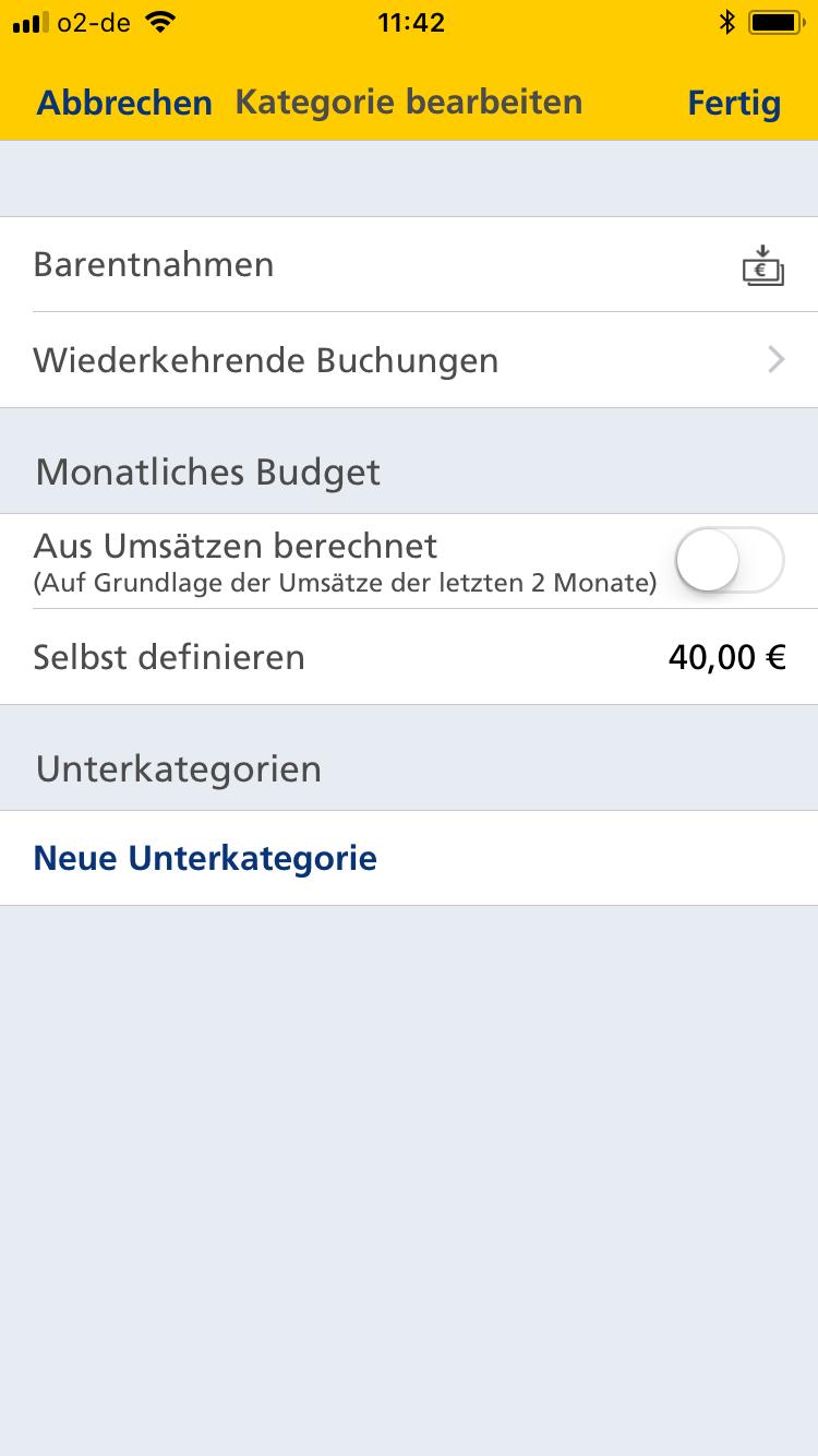 Postbank Automatische Budgetierung Auf Grundlage Der Fruheren Umsatze App Banking Screenshots