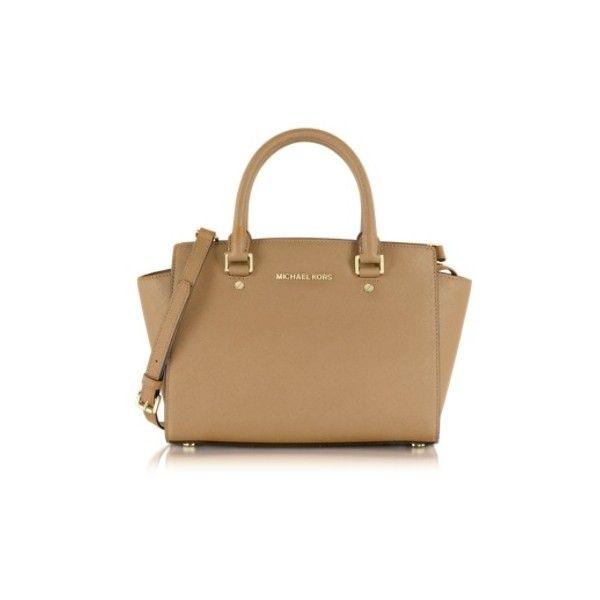 f029526434 Michael Kors Handbags Dark Khaki Selma Medium Saffiano Leather Top-Zip...  ($445) ❤ liked on Polyvore featuring bags, handbags, khaki, beige purse, ...