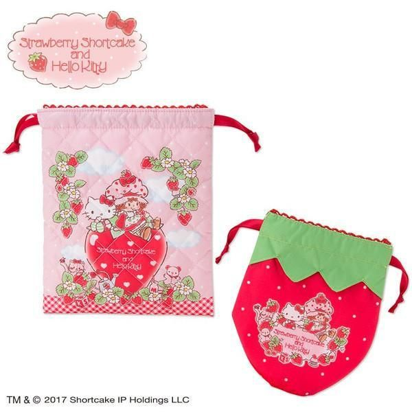 Hello Kitty × Strawberry Shortcake Drawstring Bag Set  5c97c9ac34cfa