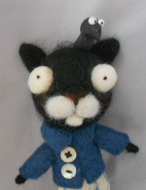 The Annoying crow  Ooak needle felted art doll by papermoongallery, $59.00