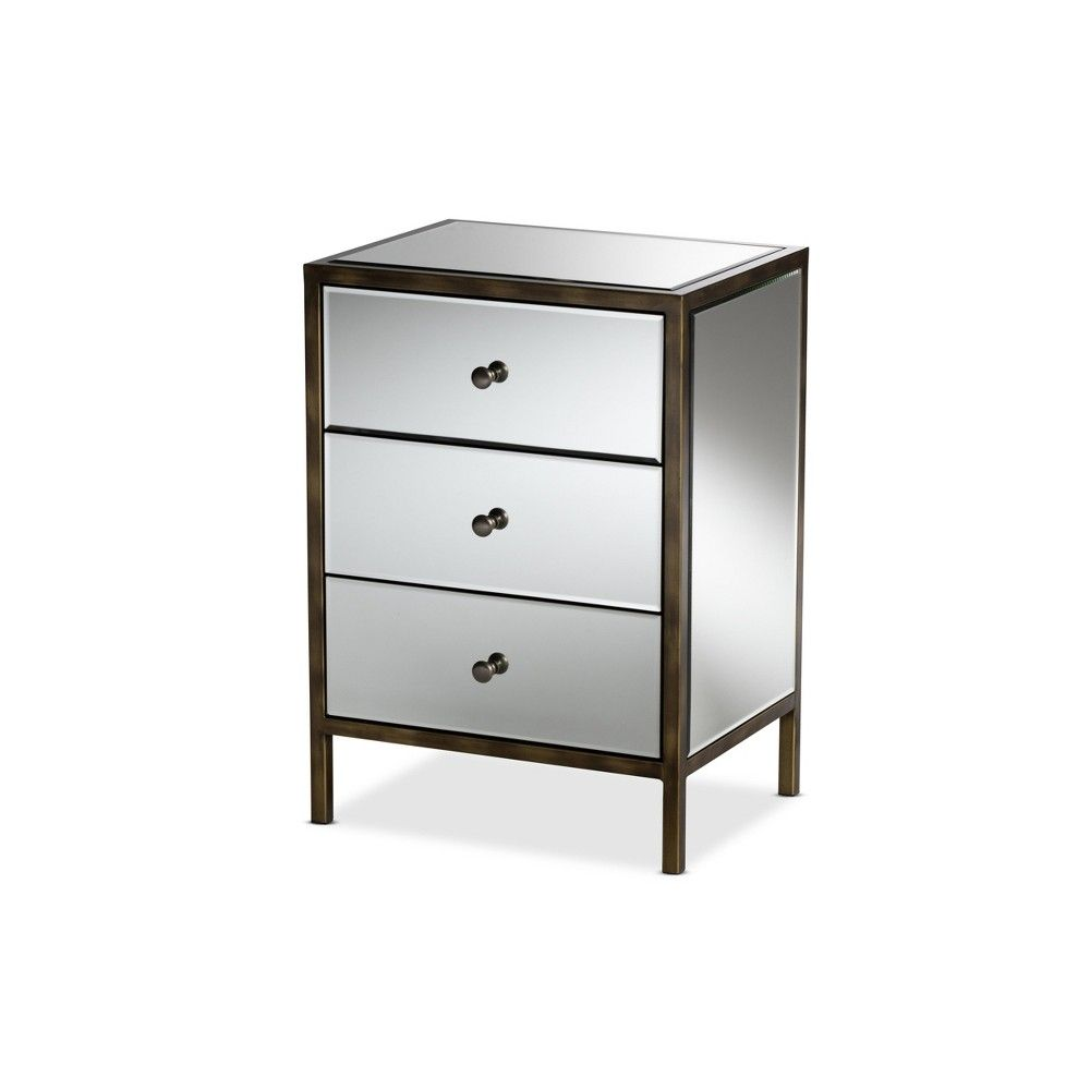 Nouria Mirrored 3 Drawer Nightstand Bedside Table Silver Baxtonstudio Drawer Nightstand Nightstand 3 Drawer Nightstand [ 1000 x 1000 Pixel ]