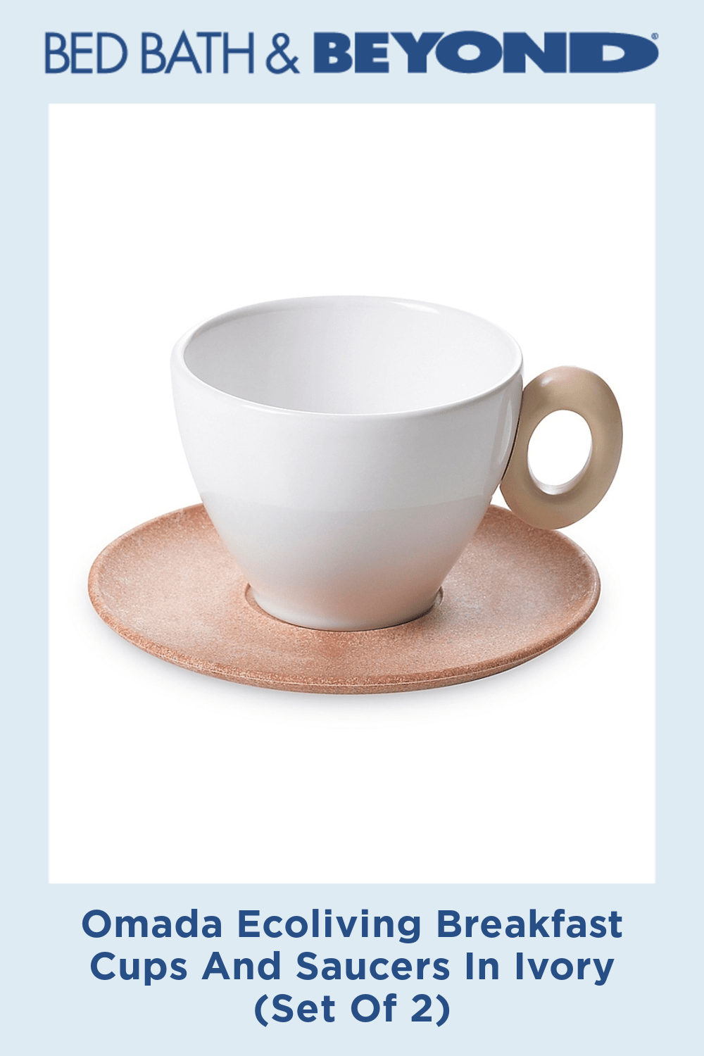 Omada Ecoliving Breakfast Cups And Saucers In Ivory (Set Of 2)