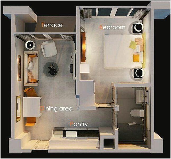 Contoh Gambar Denah Rumah 1 Kamar Tidur Minimalis 3d Denah Rumah Ide Apartemen Rumah Minimalis