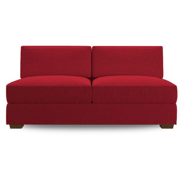 Leo Mid Century Modern Red Armless Loveseat ($1,039) ❤ liked on Polyvore featuring home, furniture, sofas, red, fabric couch, upholstered couch, upholstered furniture, red couch and red sofa
