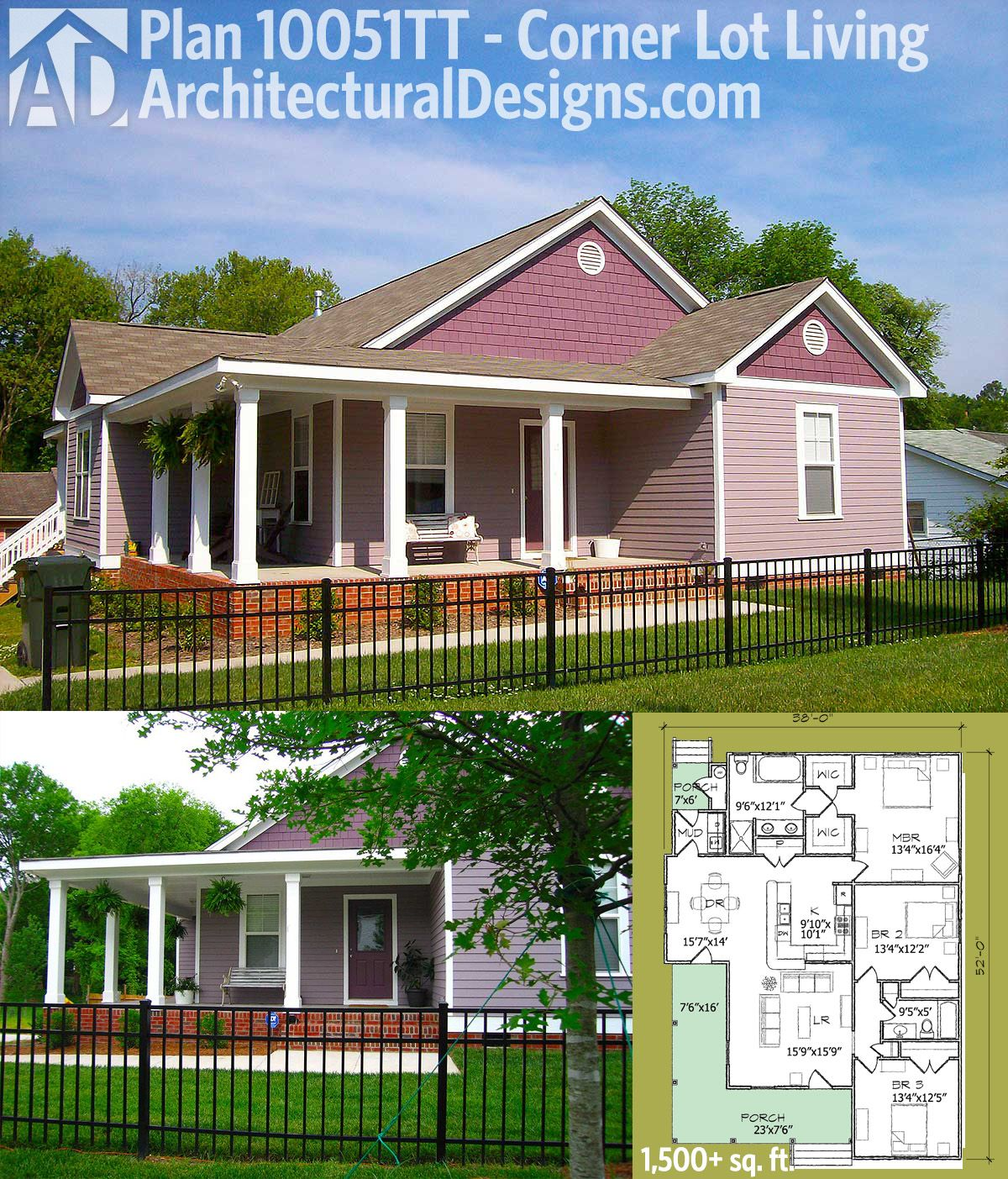 Plan 10051tt Corner Lot Living Porch House Plans Architectural Design House Plans House Plans
