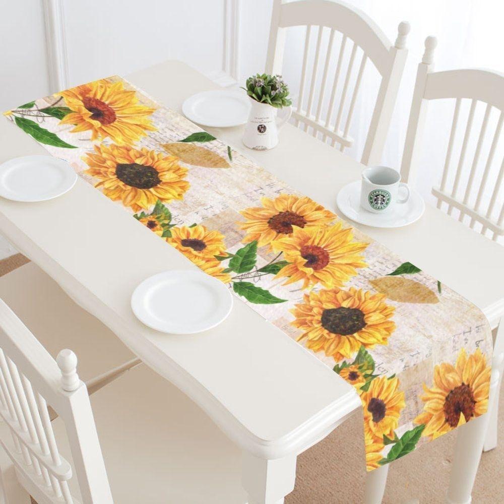 Vintage Sunflowers on Postcards Newspaper Table Runner