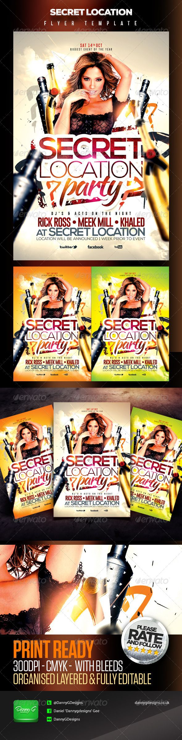 Secret Location Nightclub/Party Flyer Template | Models, Fonts and ...