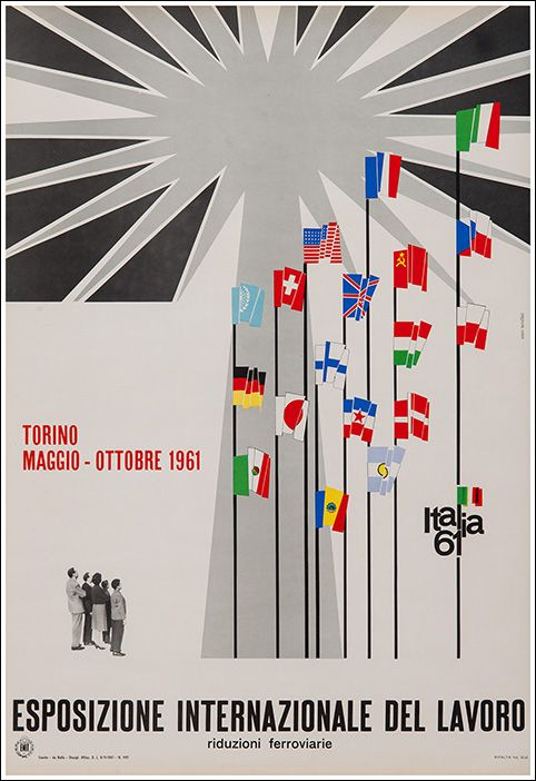 Esposizione Internazionale Del Lavoro Torino Poster Vintage