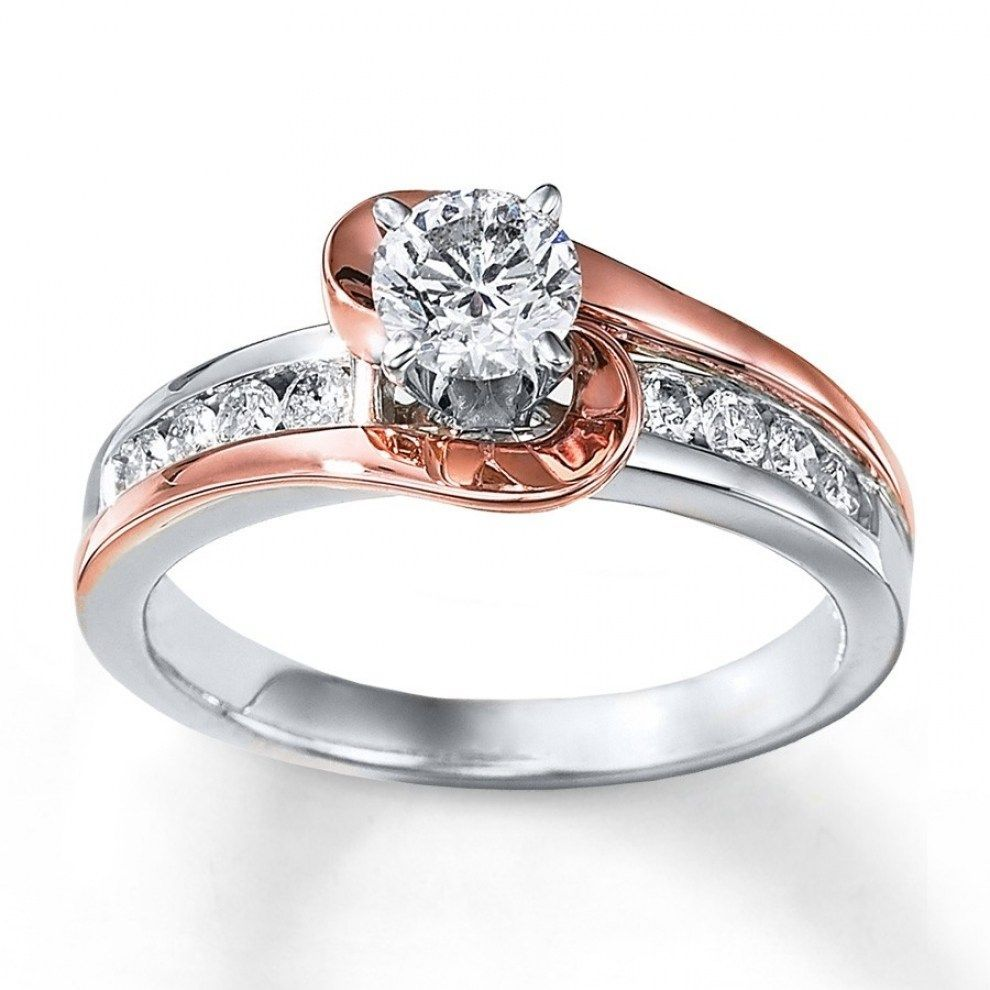 1 carat unique round two tone white and rose gold engagement ring throughout wedding rings with rose gold and white gold