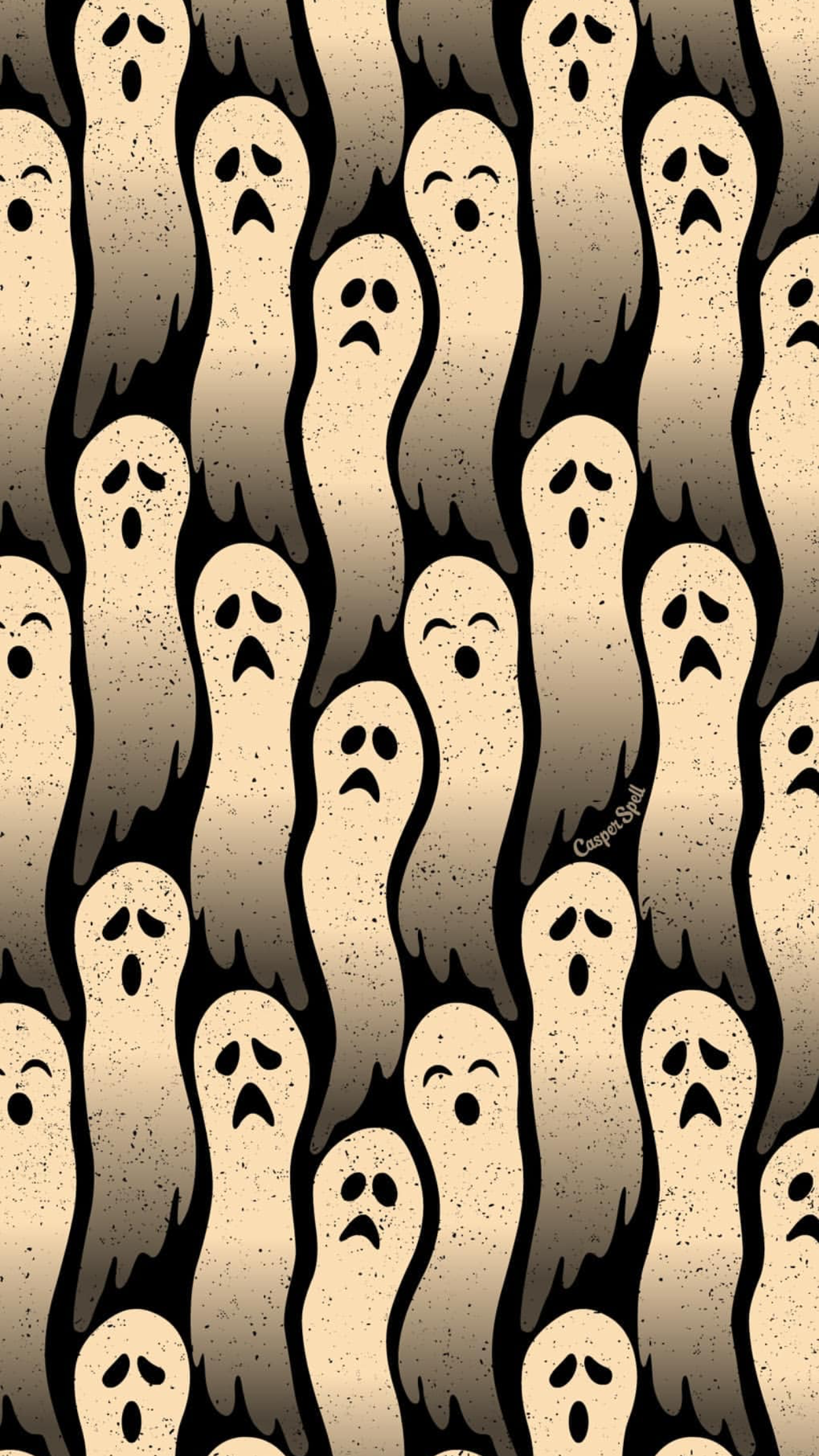Ghosts By Artist Casper Spell Wallpaper Lock Screen Background For Android Cellphone Iphone Via I Halloween Art Halloween Wallpaper Halloween Wallpaper Iphone