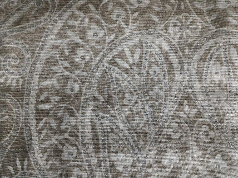 NEW TAHARI Taupe Tan Silver Paisley Medallion Window Curtain Panels 52x96 PAIR #Tahari