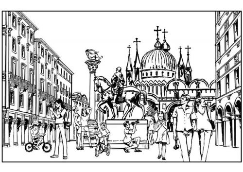 Coloring Page Venice Italy Coloring Pages Rome City Color