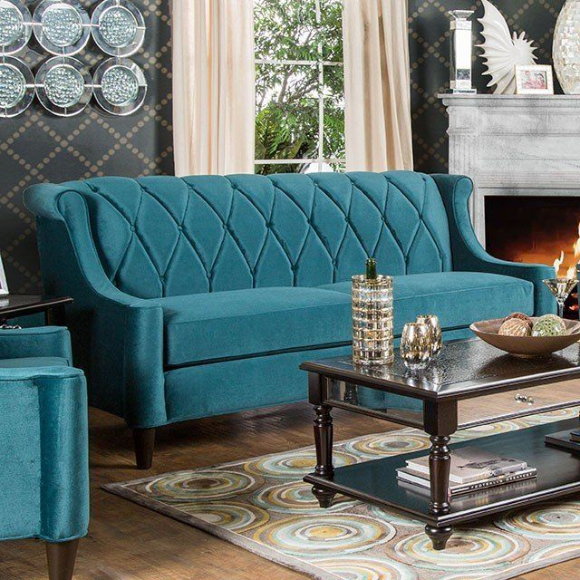 Transitional Style Dark Teal Premium Fabric Sofa SM2882 SF
