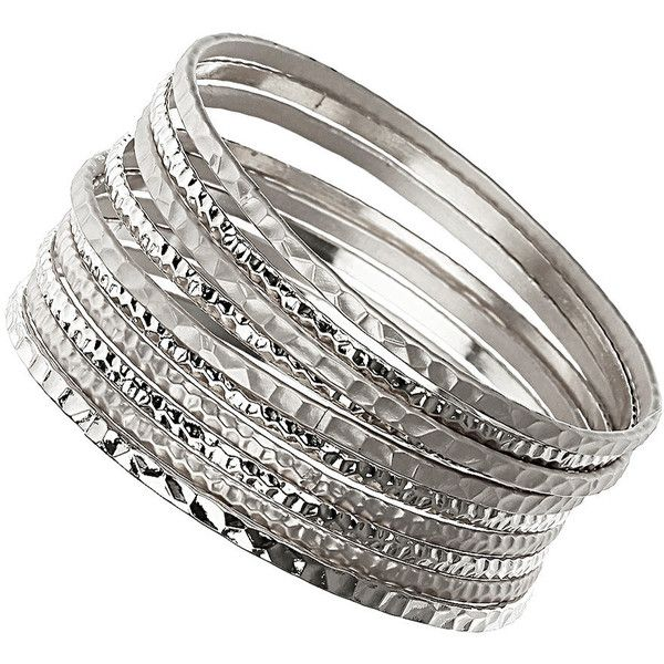 Silver Beaten Bangle Set ($12) ❤ liked on Polyvore