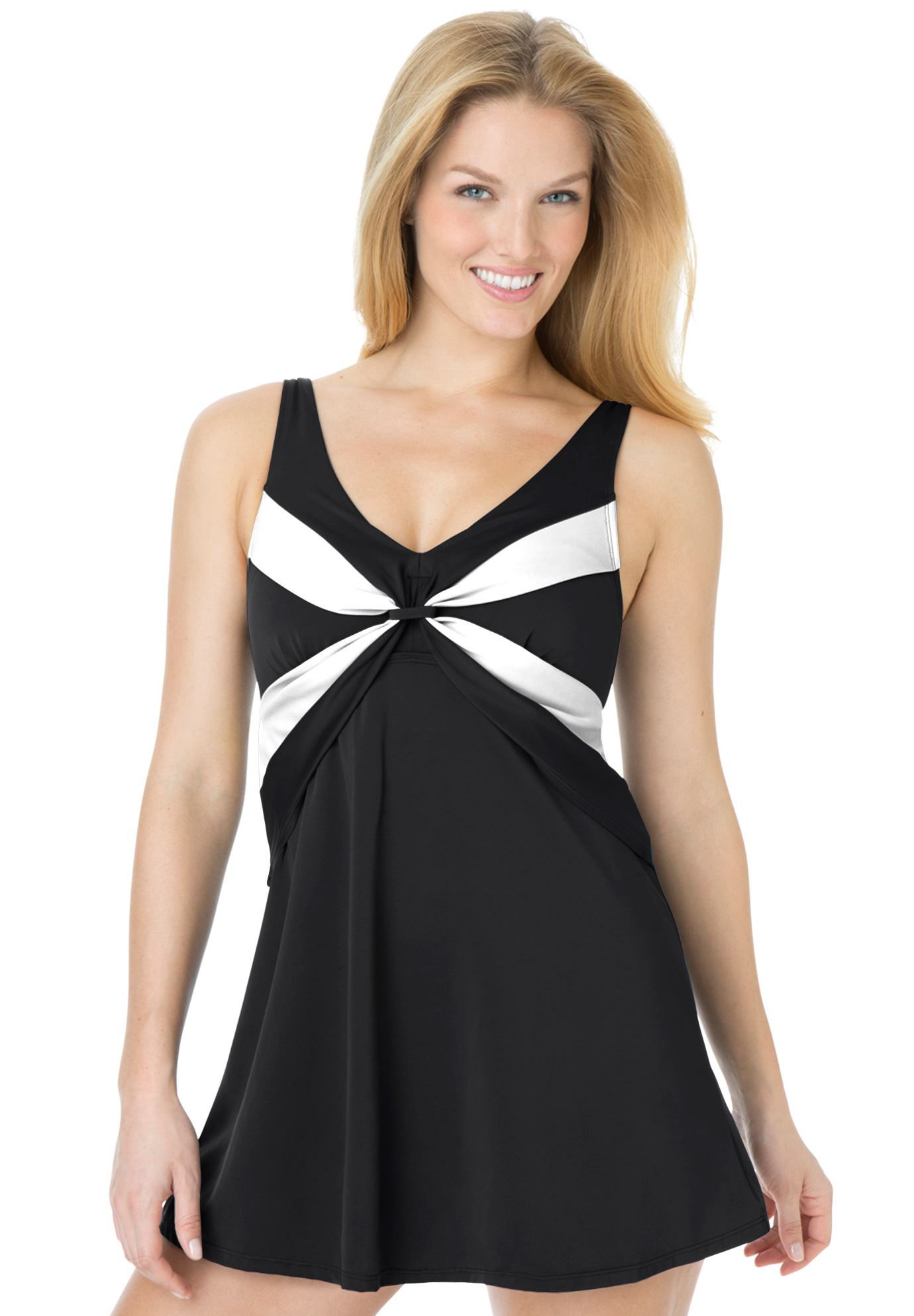 57c7ed94aa9 Plus Size A-line swimdress with twist front