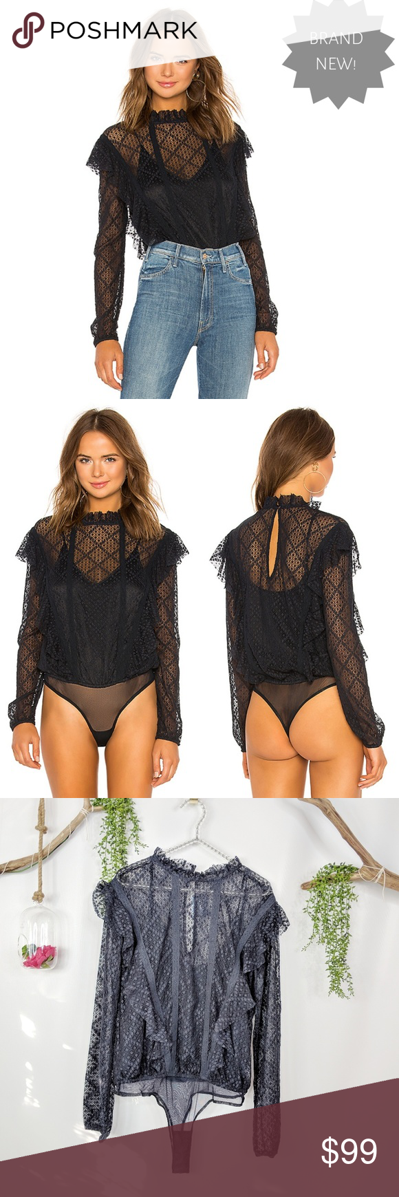 NWT FREE PEOPLE Goldie bodysuit black lace Nylon blend Hand wash cold  Adjustable cami lining Sheer lace fabric Ruffle trim Elasticized arm  openings Bottom ... 414329629e3
