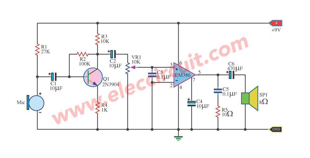 2 Megaphone Circuit Diagram You Do Not Miss Eleccircuit Com Circuit Diagram Audio Amplifier Circuit