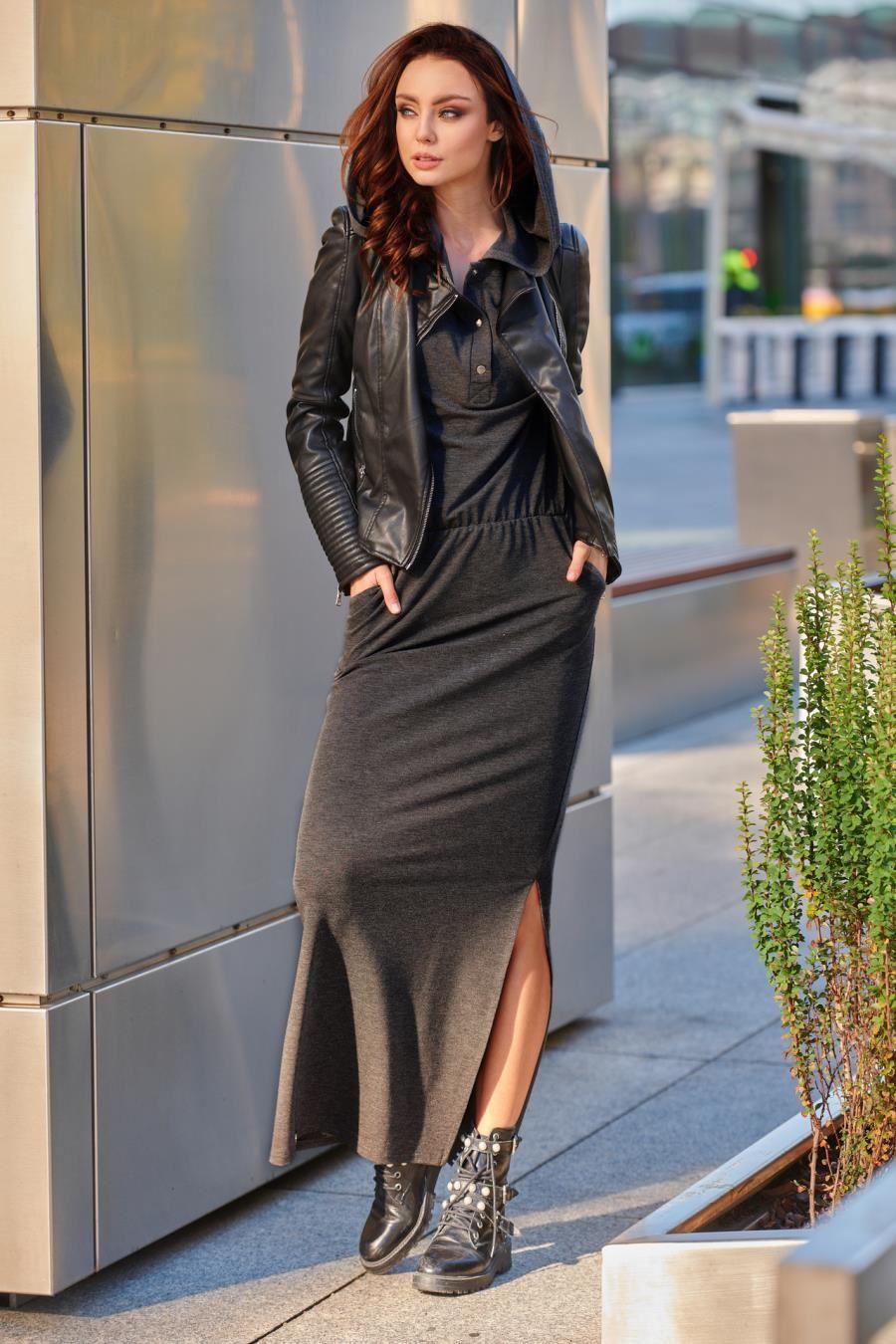 6e82fc07 Długa Dresowa Sukienka z Kapturem Grafitowa LEL287 w 2019   Sukienka ...