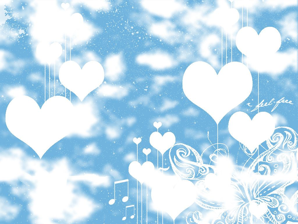 blue and white Free Blue and white love hearts Wallpaper ...