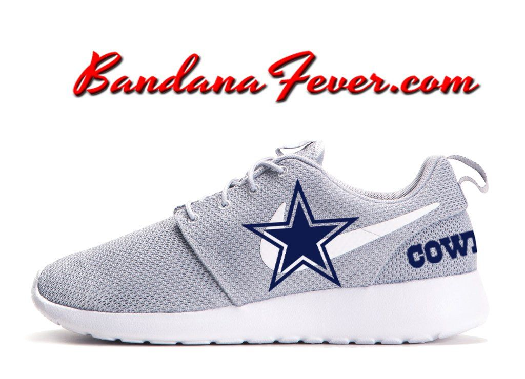 b7104801a668 Custom Cowboys Nike Roshe Run Shoes Grey