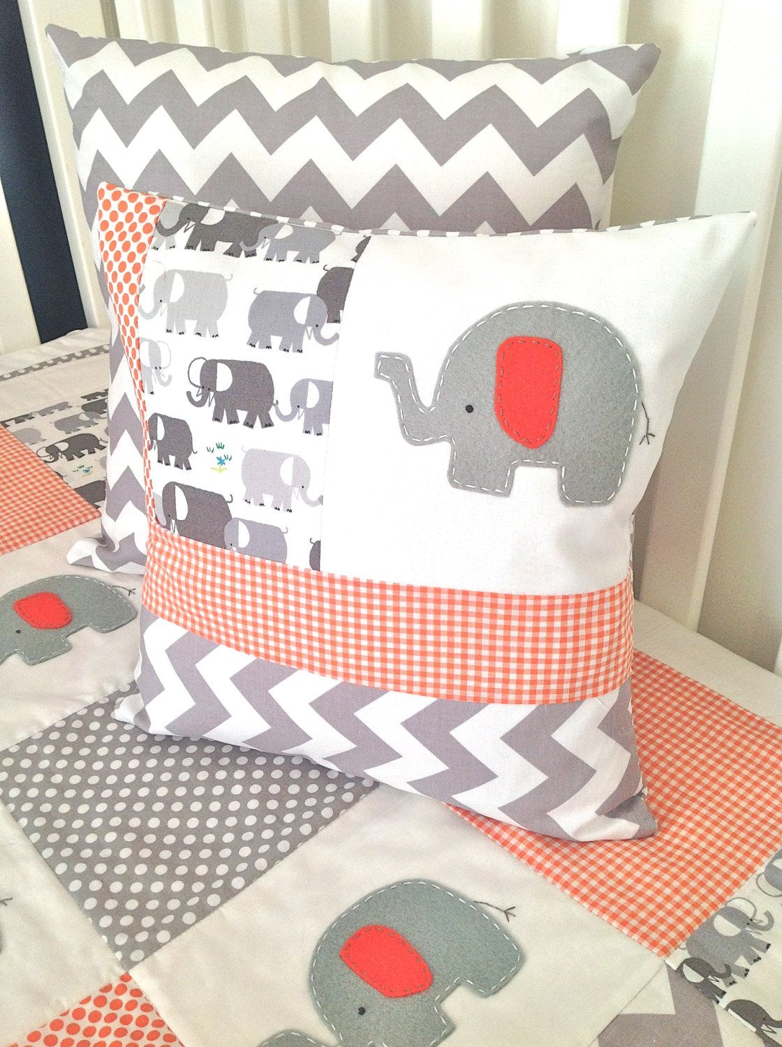 Crib pillows babies - Elephant Baby Crib Quilt And Pillow In Orange By Alphabetmonkey I Like The Combination Of Prints Chevron Check Print Large Design