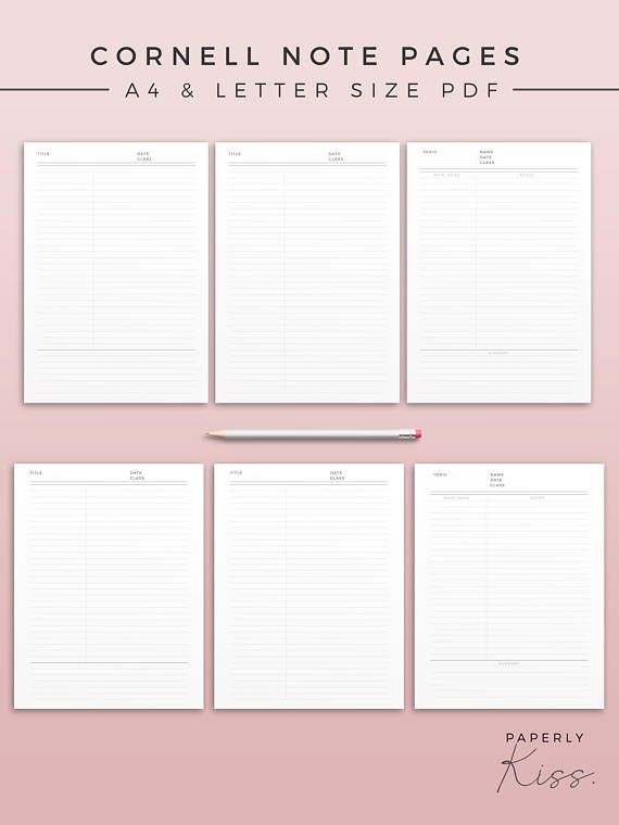 Cornell Note Template Printable Note Inserts Productivity SHOP - cornell note template