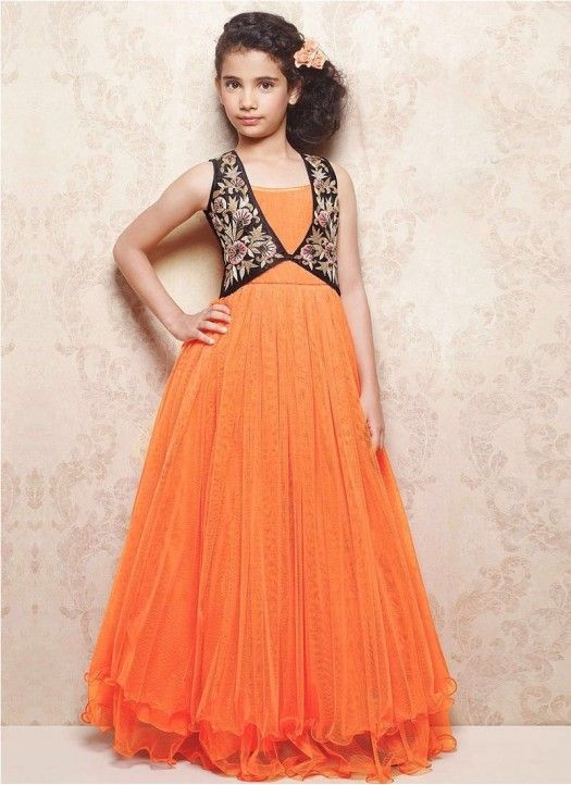 12c6e29db8 New Orange Soft Net With Dhupian Koti Style Designer Gown @Rs.1699 #Fancy  #Latest #Designer #Gorgeous #Kids #Gown