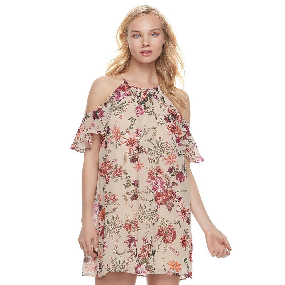 Lily rose juniorsu lily rose floral coldshoulder halter dress