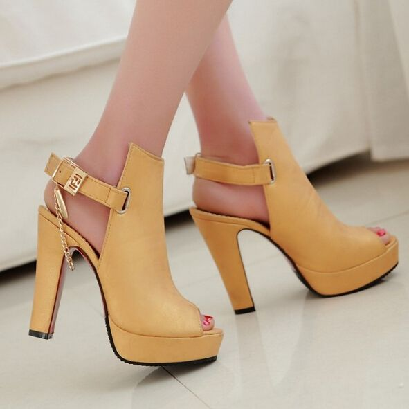 620e117fd9a US $22.13 53% OFF|Meotina Shoes Women High Heels Pumps Spring Peep Toe  Gladiator Shoes Female Chains Sequined High Heels Platform Shoes Yellow 43-in  Women's ...