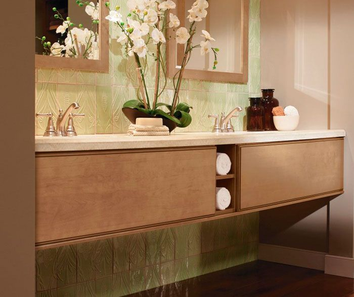 Light Maple Cabinets In Contemporary Bathroom By Kitchen Craft