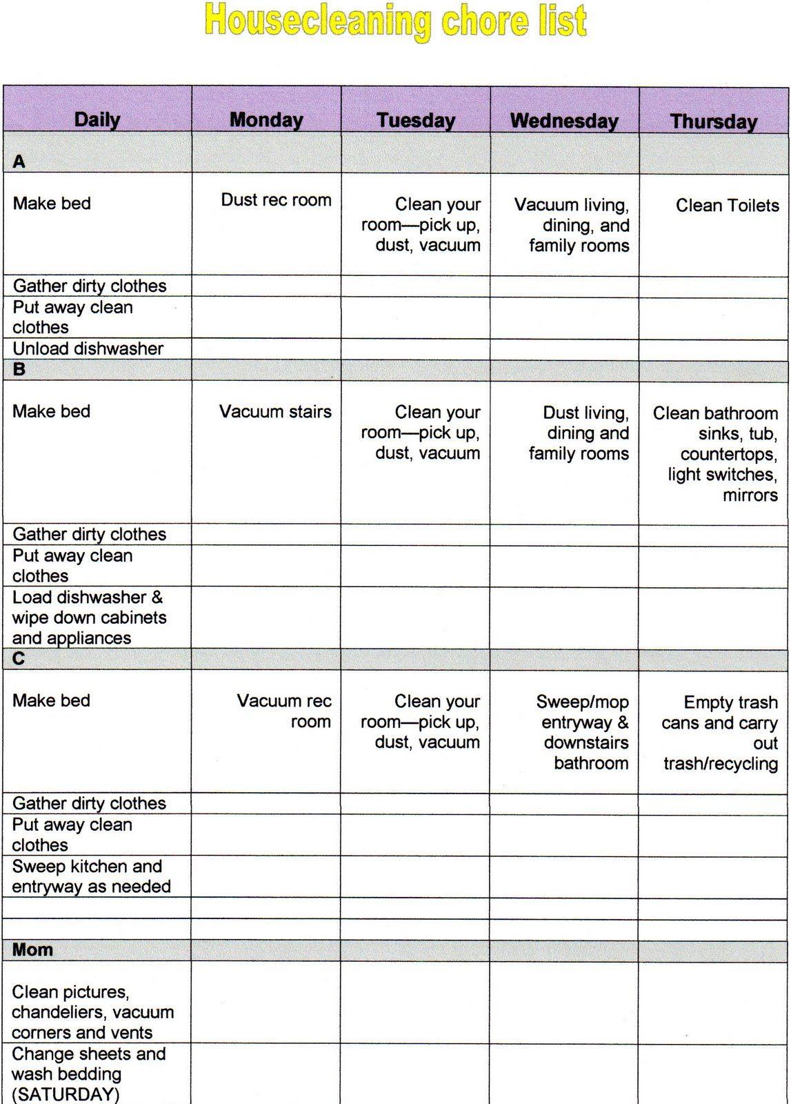 Chore Sheet
