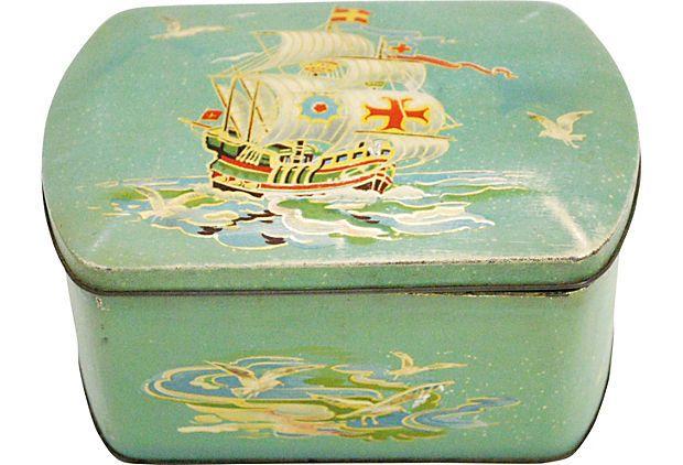 English Pirate Ship Tin on OneKingsLane.com   Decorative