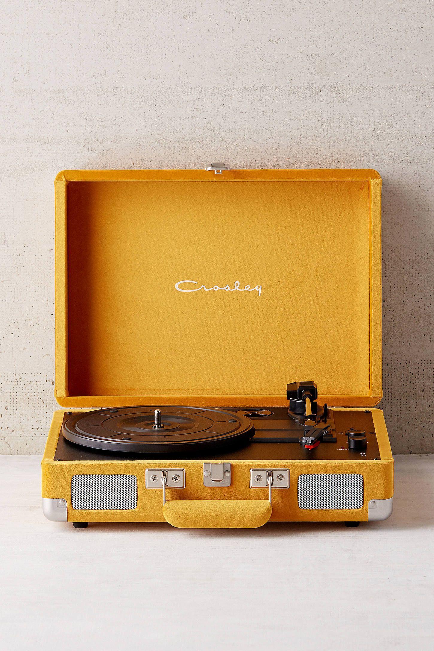 Crosley X Uo Mustard Velvet Cruiser Bluetooth Vinyl Record Player Yellow Aesthetic Pastel Yellow Aesthetic Bluetooth Record Player