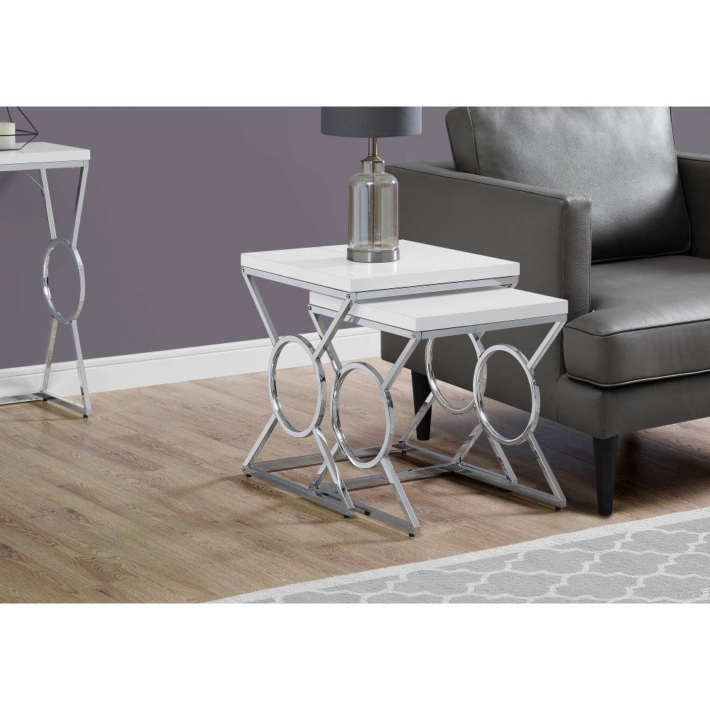 White And Chrome Contemporary Nesting Tables Nesting Tables Luxury Furniture Design Living Room End Tables