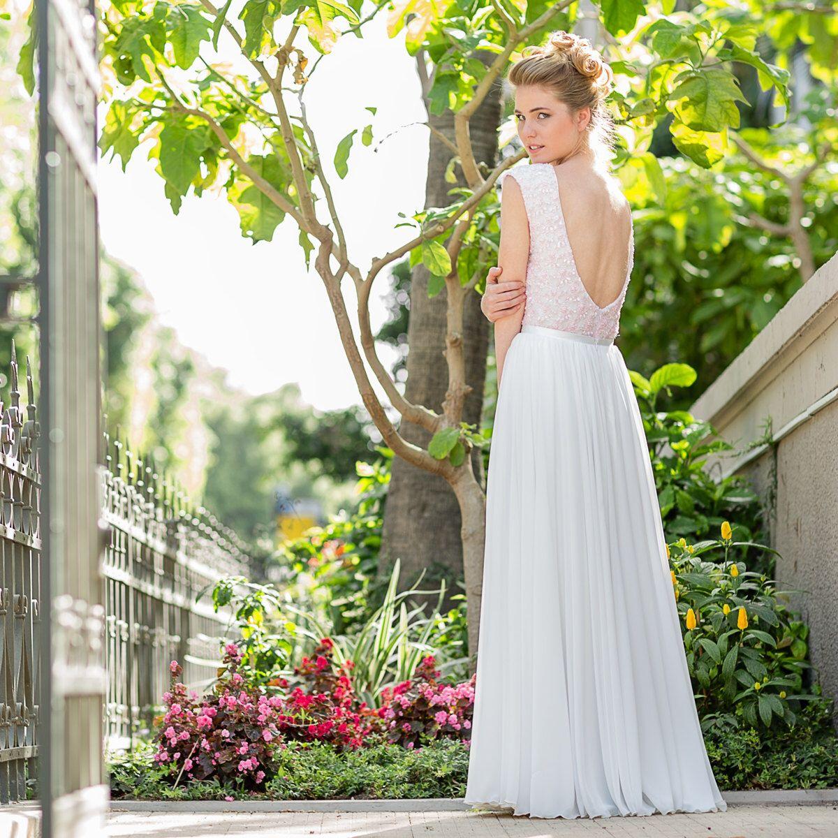Low-Back Lace and Chiffon Wedding Dress