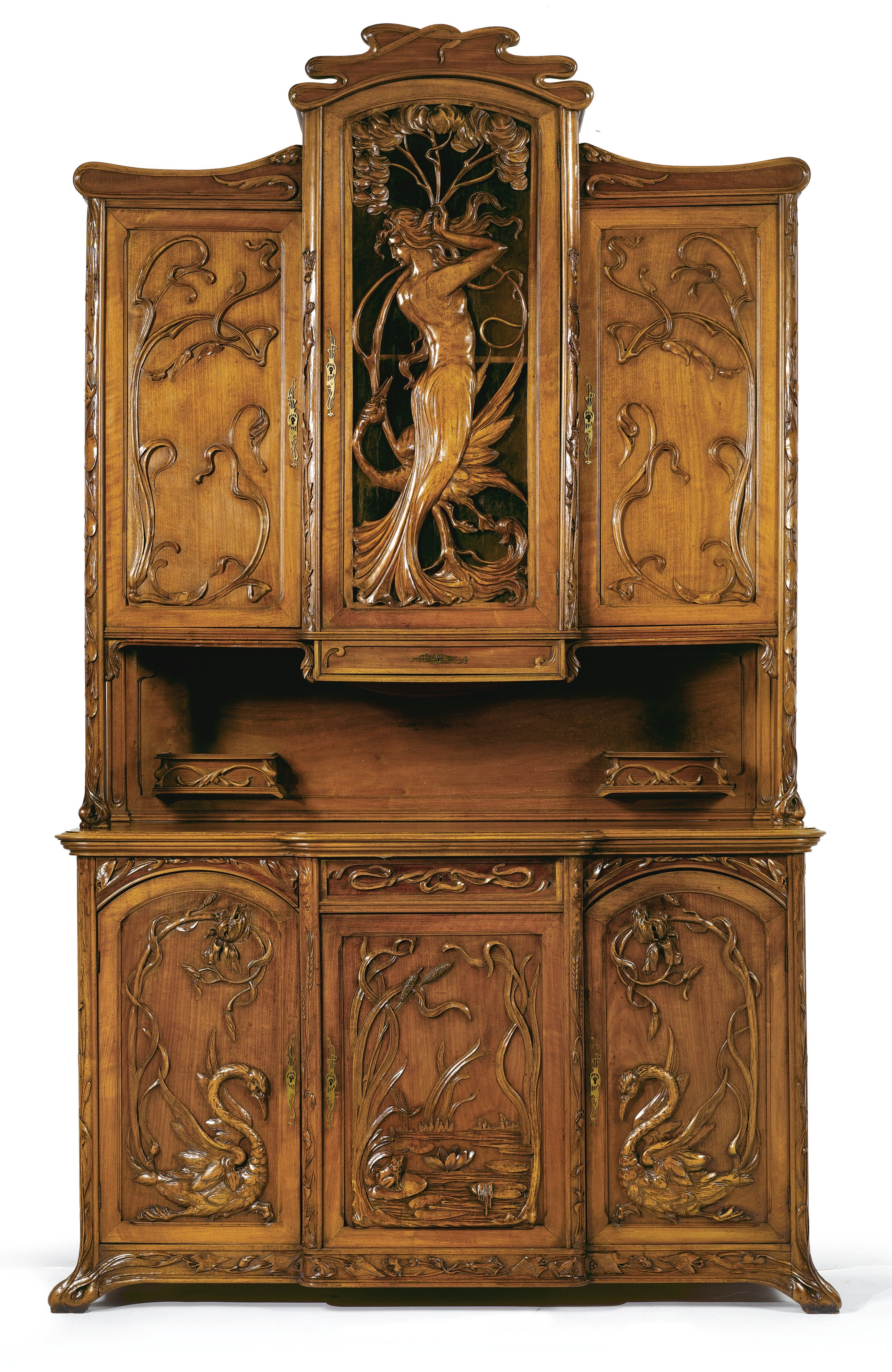 AN ART NOUVEAU CARVED WALNUT BUFFET À DEUX CORPS France or Belgium ...