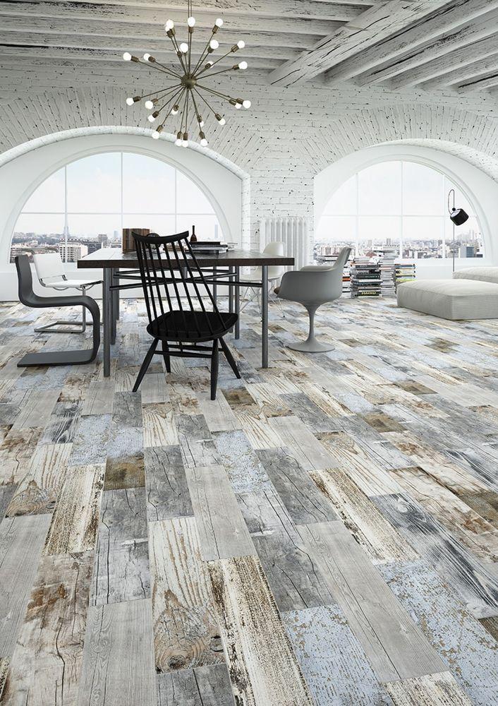 Reclaimed Rustic Blue Wood Effect Porcelain Wall/Floor