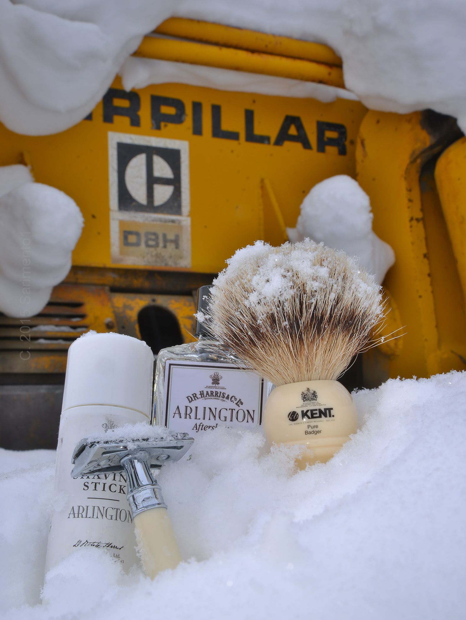 D.R. Harris Arlington shave stick and aftershave, Edwin Jagger safety razor, Kent badger brush, Alaska, March 6, 2015